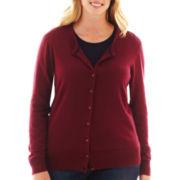 jcp™ Long-Sleeve Crewneck Cardigan Sweater - Plus