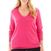 jcp™ Long-Sleeve Fine-Gauge V-Neck Sweater - Plus