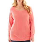 jcp™ Long-Sleeve Thermal Elbow-Patch Sweater - Plus