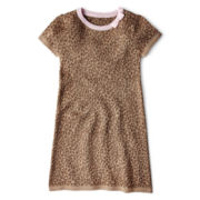 Okie Dokie® Short-Sleeve Jaquard Sweater Dress - Girls 2t-6