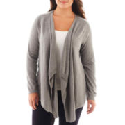 a.n.a® Long-Sleeve Flyaway Cardigan - Plus