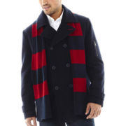 IZOD® Pea Coat with Scarf
