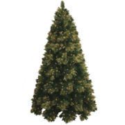 Pre-Lit Glitter-Tipped Golden Pine Christmas Tree