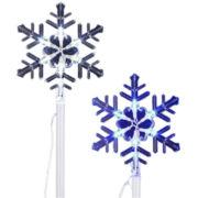 Set of 6 LED Snowflake Lawn Stakes