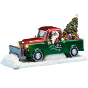 Musical Santa in Plow Truck Figurine