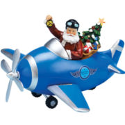 Musical Santa in Plane Figurine