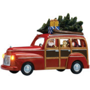 Musical Santa in Station Wagon Figurine