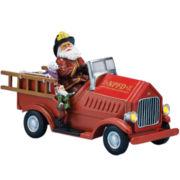 Musical Santa in Fire Truck Figurine