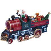 Musical Santa and Teddy in Train Figurine