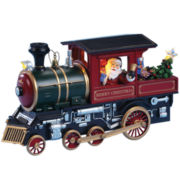 Musical Santa and Nutcracker in Train Figurine