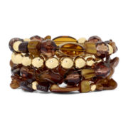 Mixit™ Gold-Tone Brown 4-pc. Stretch Bracelet Set