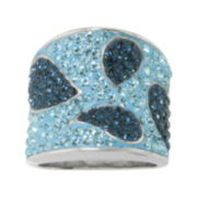 Silver-Plated Blue Crystal Wide Band Ring
