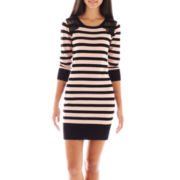 by&by Long-Sleeve Striped Lace Sweater Dress