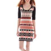 Take Out 3/4-Sleeve Aztec Print Sweater Dress