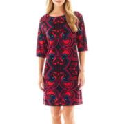 Studio 1® 3/4-Sleeve Print Shift Dress