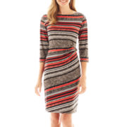 R&K Originals® 3/4-Sleeve Striped Side-Buckle Dress