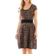 Danny & Nicole® Short-Sleeve Animal Print Fit-and-Flare Dress