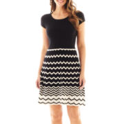 Danny & Nicole® Short-Sleeve Chevron Print Sweater Dress