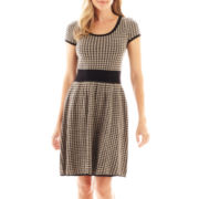 Danny & Nicole® Short-Sleeve Houndstooth Fit-and-Flare Dress