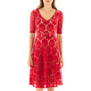 Danny & Nicole® Short-Sleeve Belted Lace Fit-and-Flare Dress