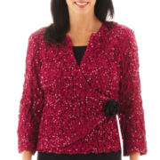 Jackie Jon Long-Sleeve Faux-Wrap Pucker Jacket