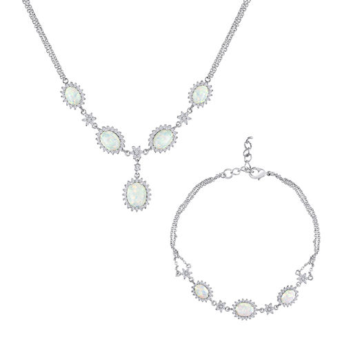 Lab-Created Opal & Cubic Zirconia Necklace & Bracelet Set