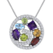 Multi-Gemstone Sterling Silver Geometric Pendant Necklace