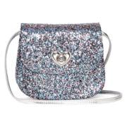 On the Verge Glitter Heart Lock Crossbody Bag - Girls