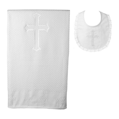 Keepsake® Christening Blanket and Bib Set - Girls One Size
