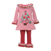 Bonnie Jean Christmas Top and Leggings Set - Girls 2t-4t