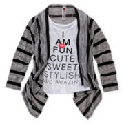 Beautees 2-pc. Cardigan and Graphic Tank - Girls 7-16
