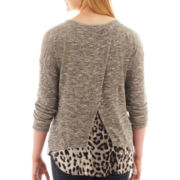 by&by Long-Sleeve Animal Print Back Top - Plus
