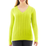 Arizona Long-Sleeve V-Neck Cable Knit Sweater - Plus