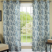 Ikat Plume Grommet-Top Curtain Panel Pair