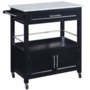 Davin Granite Top Rolling Kitchen Cart with Towel Rack