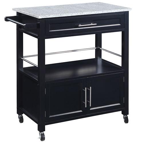 Davin Granite Top Rolling Kitchen Cart with Towel Rack