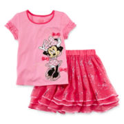 Disney Collection Pink Minnie Mouse 2-pc. Top and Skirt Set – Girls 2-10