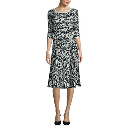 Signature By Sangria 3/4 Sleeve Fit & Flare Dress