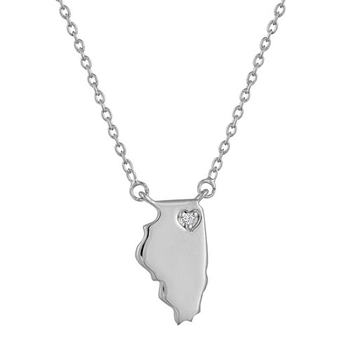 Diamond Accent Sterling Silver Illinois Pendant Necklace