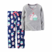 Carter's Girl Gray Cupcake 2pc Fleece 2T-5T