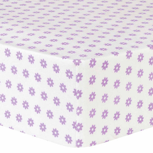 Trend Lab Lilac Flower Flannel  Crib Sheet