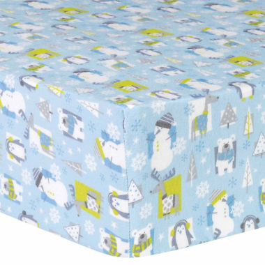 jcpenney.com | Trend Lab Snow Pals Blue Flannel Crib Sheet
