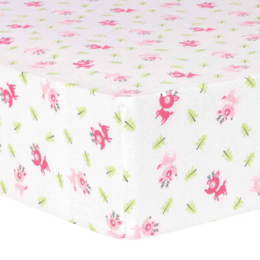 jcpenney.com | Trend Lab Pink Reindeer Flannel  Crib Sheet