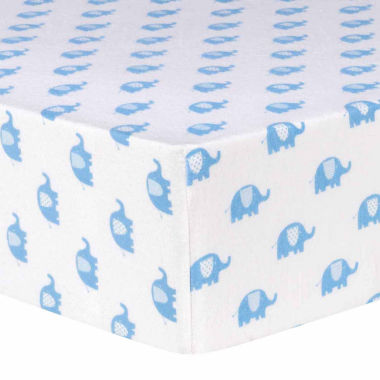 jcpenney.com | Trend Lab Blue Elephant Flannel Fitted Crib Sheet