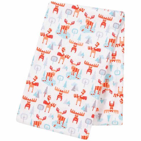 Trend Lab Winter Moose Jumbo Flannel  Swaddle Blanket