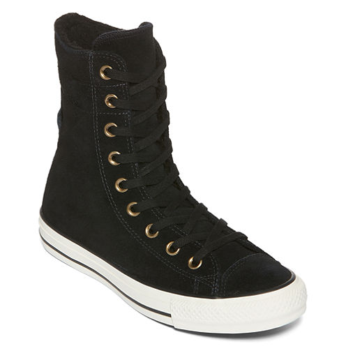Converse Chuck Taylor All Star Suede and Faux Shearling High-Rise Womens Sneakers