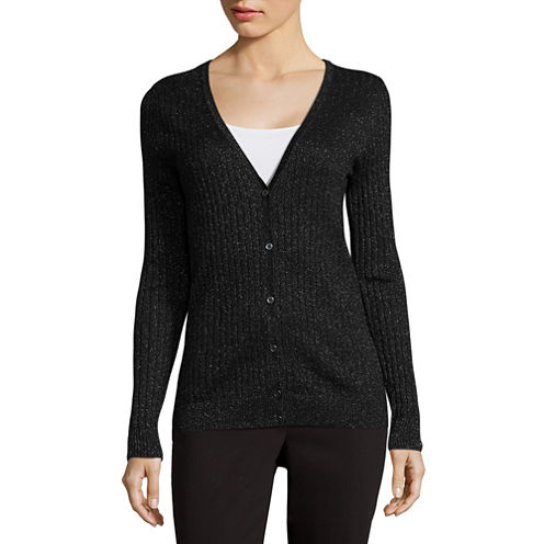 Liz Claiborne Long Sleeve V Neck Cardigan-Talls