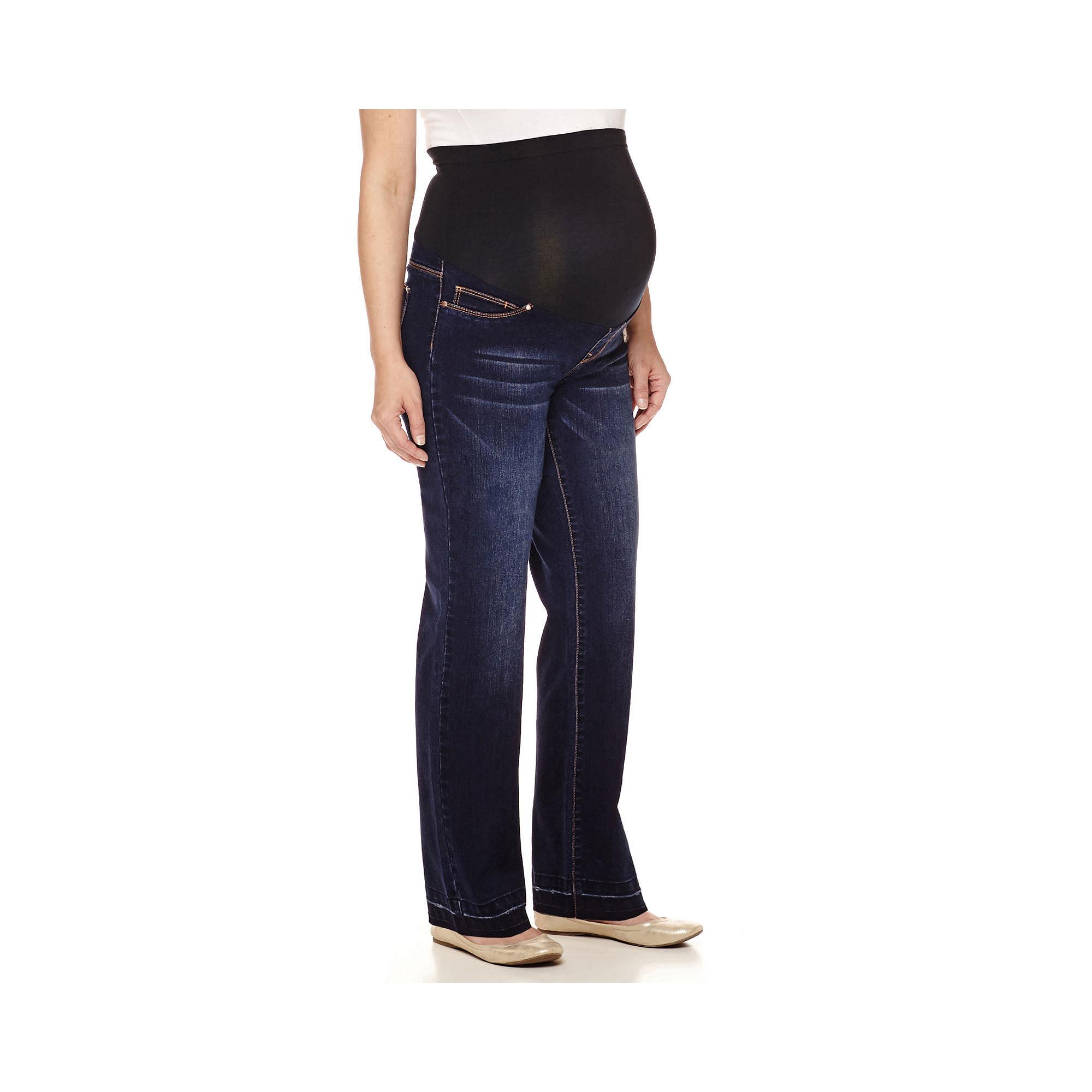 Maternity Raw Edge Overbelly Wide-Leg Pants plus size,  plus size fashion plus size appare