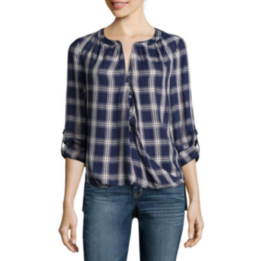 jcpenney.com | a.n.a® Long-Sleeve Front-Tab Blouse