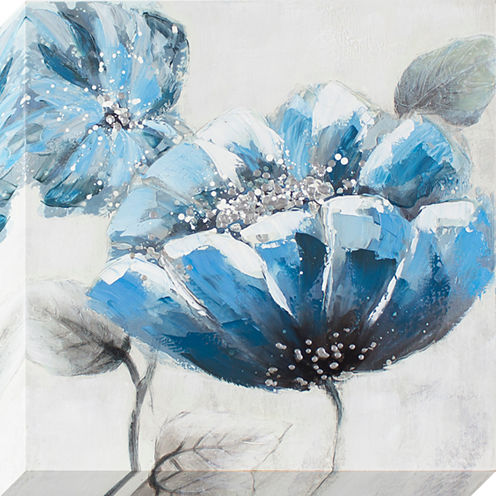 Decor Therapy Blue Poppy Oil Painted Canvas